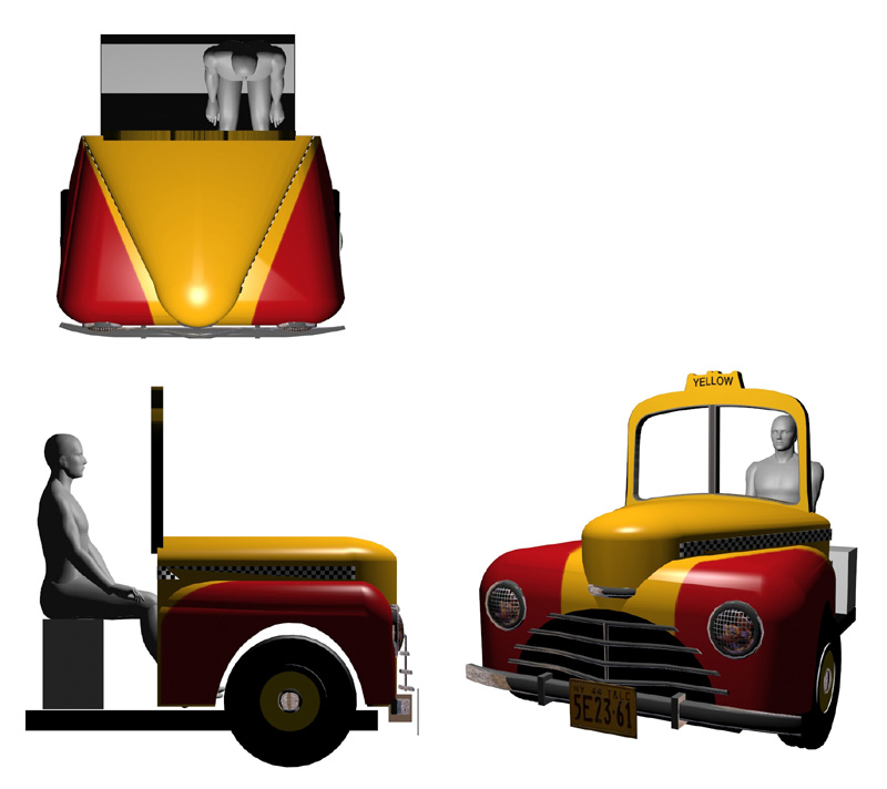 Orthographic view of Taxi Cab