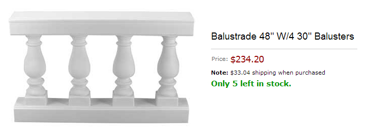 A screen capture of ready-made balustrade for purchase online.  It is four feet wide and has four spindles.  It costs $234.20.
