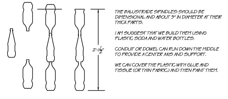 """Line drawing of how to put plastic bottles together.  The balustrade spindles should be dimensional and about 3"""" in diameter at their thick parts.  Plastic soda or water bottles are suggested.  Conduit or dowel can run down the middle to provide a center axis and support."""