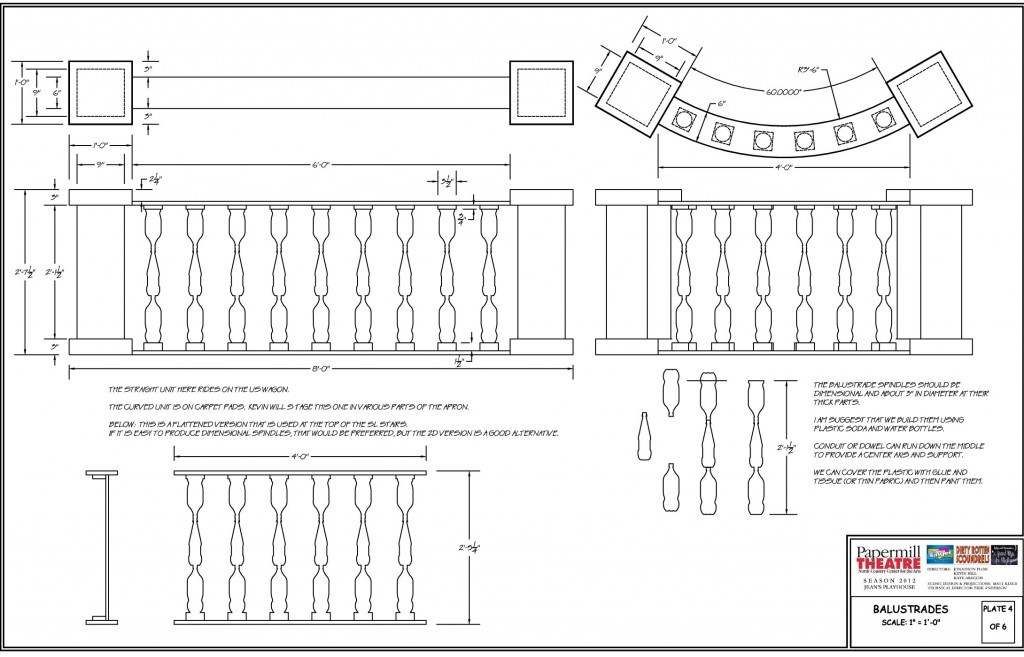Orthographic drawings of the balustrade being discussed.  Top, front, and side views have been drafted with details and instructions.