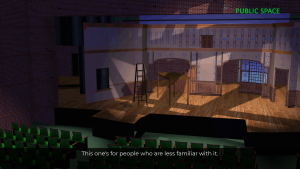 """Image of a partially built set on stage as seen from the audience area of a theater.   A label in the corner reads """"Public Space."""""""
