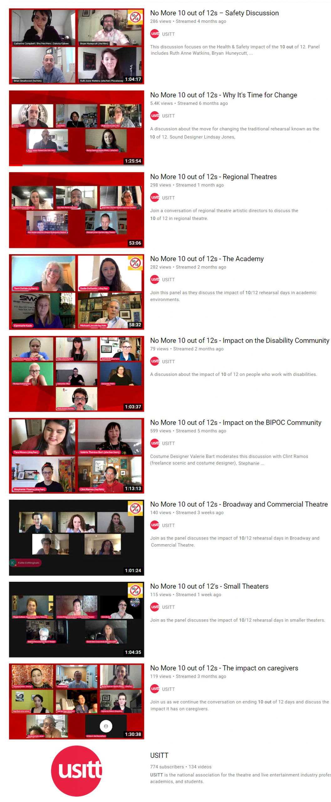 Nine different video screens are shown from the USITT YouTube channel.  Each shows an arrangement of panelists giving Zoom discussions about different aspects of the 10 out of 12 topic.