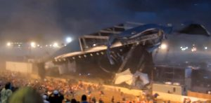 INDIANAPOLIS, IN - AUGUST 13: The stage collapses at the Indiana State Fair August 13, 2011 in Indianapolis, Indiana. The stage fell just before country duo Sugarland were scheduled to perform, killing at least four people and injuring at least twelve more.